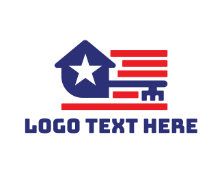 American Flag - America House Key logo design