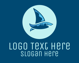 Apparel - Blue Shark Sailing Boat logo design