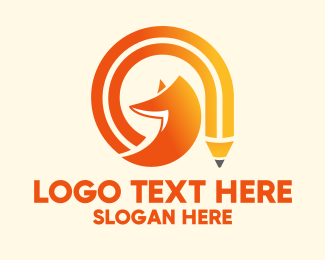 School - Fox Gradient Pencil logo design