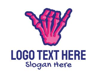 Surfer - Skeleton Shaka Sign logo design
