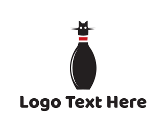 Black Cat - Bowling Cat logo design