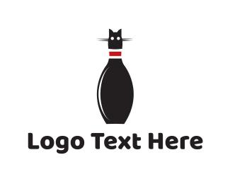 Monochrome - Bowling Cat logo design