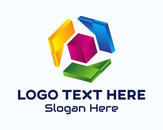 Web Design - 3D Multicolor Cube logo design