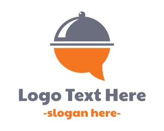 Waiter - Food Bubble Message logo design