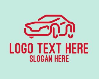 Car Accessories - Futuristic Red Car logo design