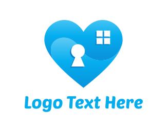 Key - Padlock Heart logo design