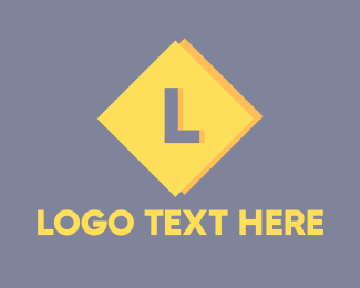 Rhombus - Yellow Diamond Lettermark logo design