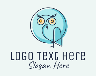 Nocturnal Animal - Blue Owl Chat  logo design