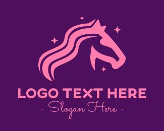 Mythical Creature - Pink Magic Unicorn logo design