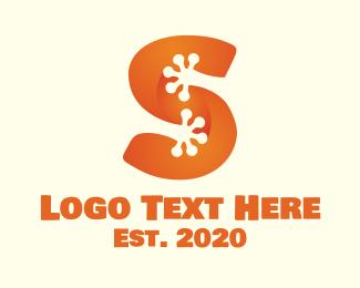 Frog - Orange Frog Letter S logo design