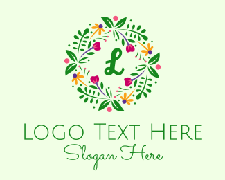 Ornament - Floral Ornament Wreath Lettermark  logo design