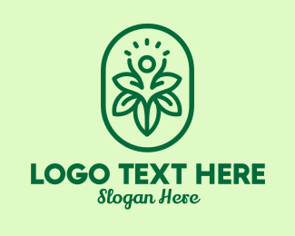 Therapist - Green Floral Human Emblem logo design