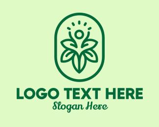 Wellness Center - Green Floral Human Emblem logo design
