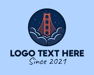 Road Trip - Golden Gate Bridge San Francisco logo design