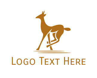 Gazelle - Brown Wild Gazelle logo design