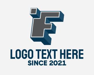 3d Printing - 3D Graffiti Letter F   logo design