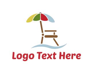 Summer - Umbrella Chair logo design