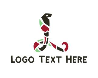 Poisonous - Mosaic Cobra  logo design