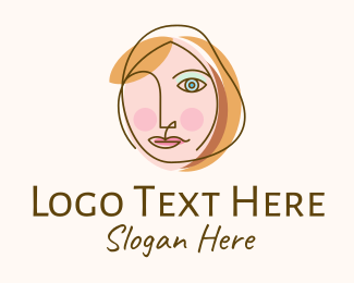 Blue Girl - Abstract Cubism Woman Face logo design