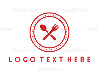 Catering - Red Cutlery Circle logo design