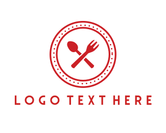 Food Delivery - Red Cutlery Circle logo design
