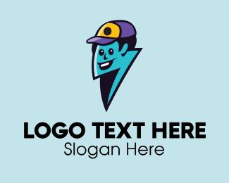Utility - Lightning Delivery Man  logo design