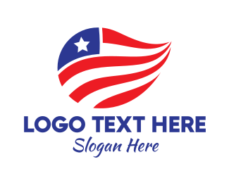 North America - Abstract Star and Stripes logo design