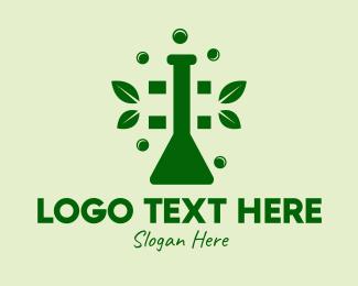 Natural Cure - Organic Chemistry Beaker  logo design
