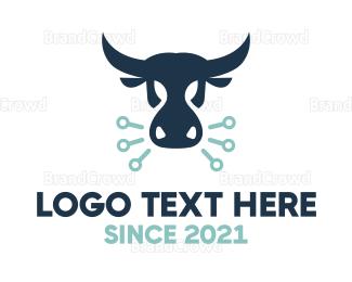 Dairy - Blue Digital Bull logo design
