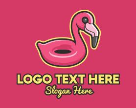 Holiday - Flamingo Pool Float logo design