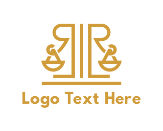 Court House - Legal R Monogram logo design