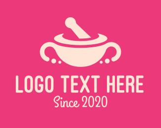 Salad Bowl - Pink Mortar & Pestle logo design