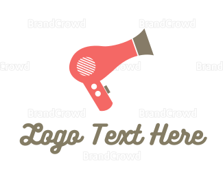 Hair - Pink Hair Dryer logo design