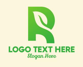 Leafy - Green Leaf Letter R  logo design