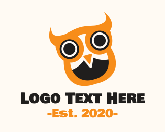 Birdie - Orange Cute Owl  logo design