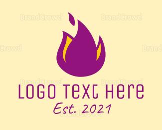 Purple And Yellow - Purple Flame logo design