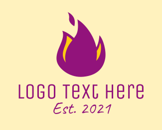 Heat - Purple Flame logo design