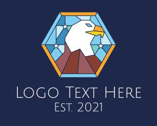 Lieutenant - Eagle Stars Stained Glass logo design