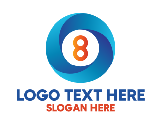 Frisbee - Blue Ring Number 8 logo design