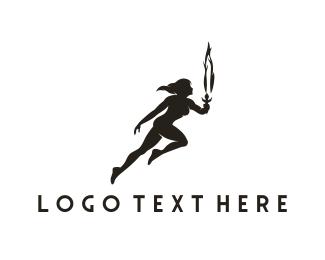 Runner - Woman & Torch logo design