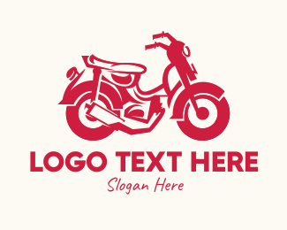 Riding - Red Motorbike logo design