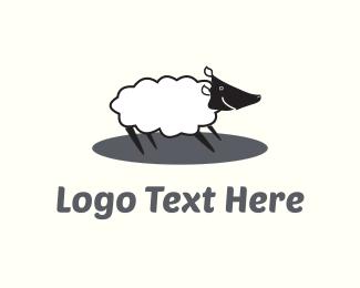 Shepherd - Happy White Sheep  logo design