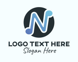 Letter N - Letter N Music logo design