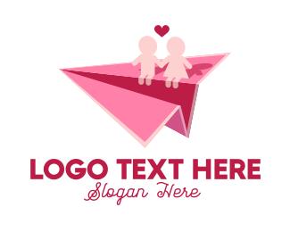 Paper - Couple Paper Plane logo design
