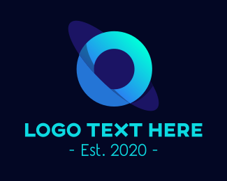 Planetary - Blue Orbit Planet Letter O logo design