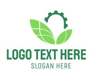 Gear - Industrial Leaves logo design