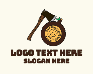 Hatchet - Axe Wood Log logo design