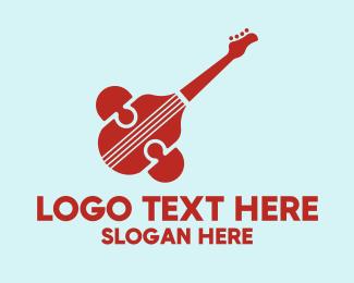 Violin Lesson - Modern Guitar Symbol logo design