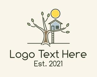 House - Children Treehouse Playground logo design