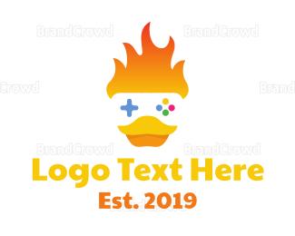 Duck - Duck Flame Gaming logo design